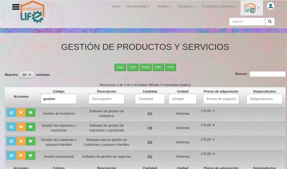 Productos y servicios de CRM ERP Intelligent Life Manager