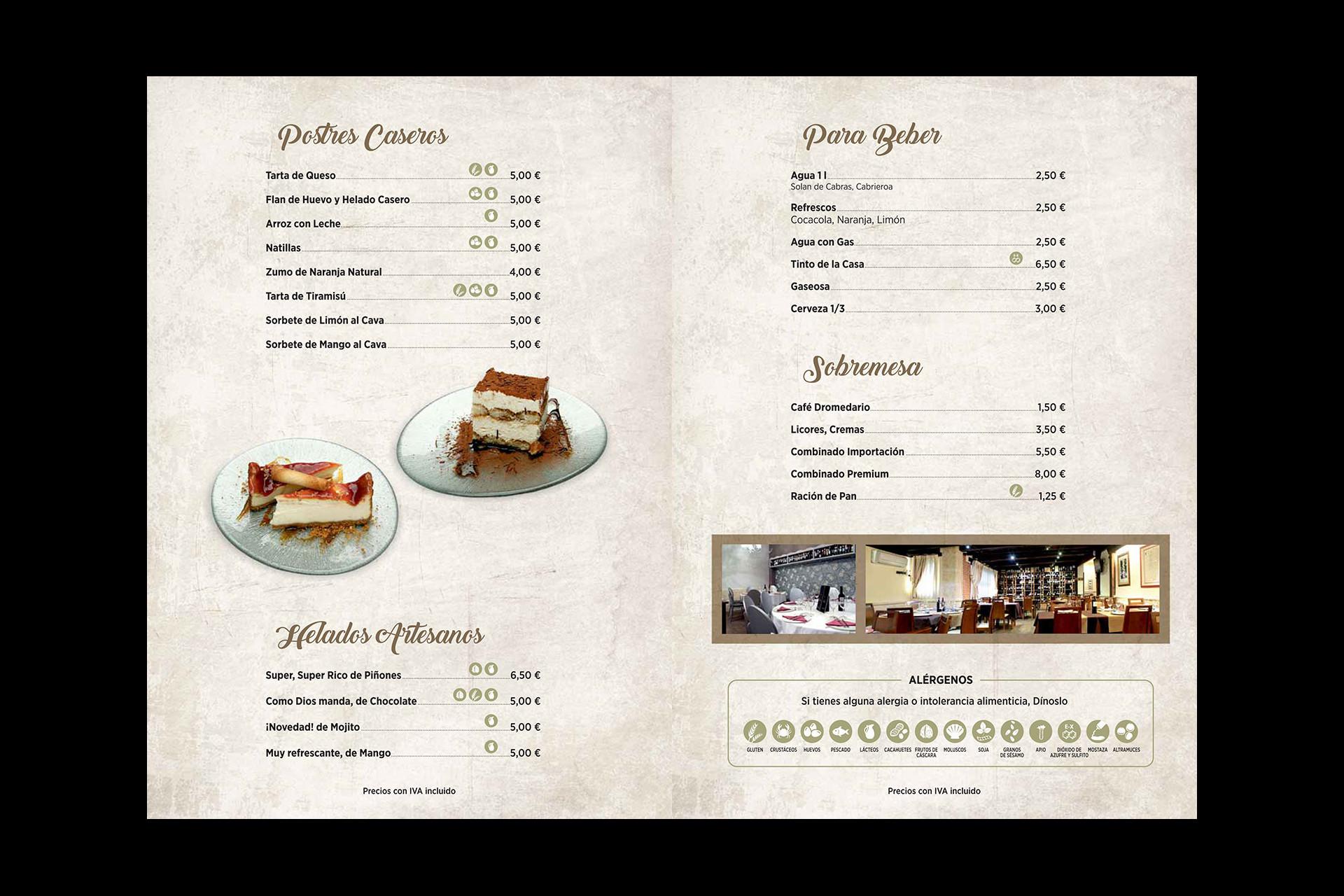 Carta restaurante con información alérgenos