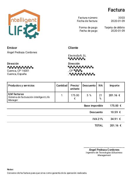 Factura generada con ERP CRM Intelligent Life Manager