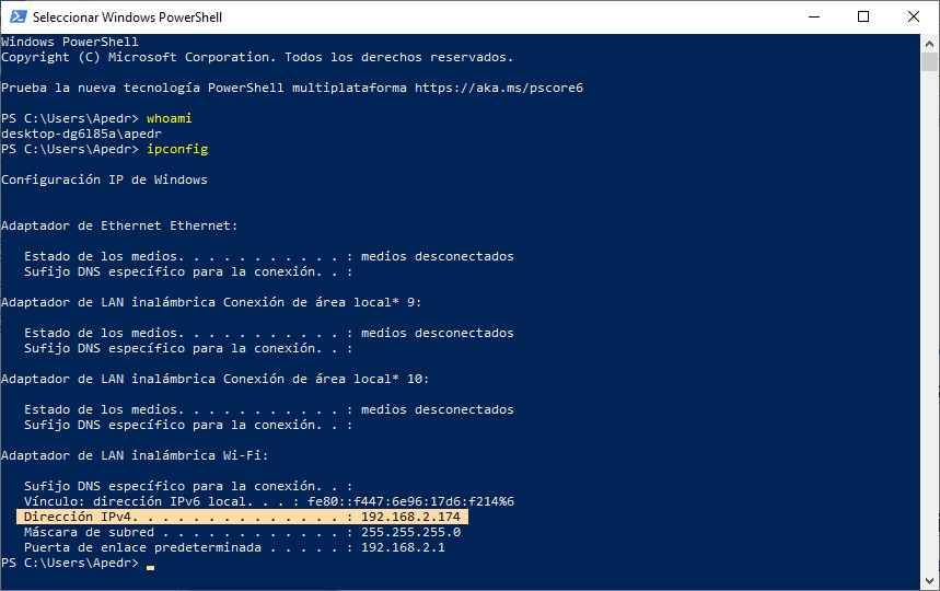SSH y SCP con Windows 10 obtener IP y whoami Intelligent Life